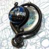 Pendant polymère circuit imprimé bleu tentacule