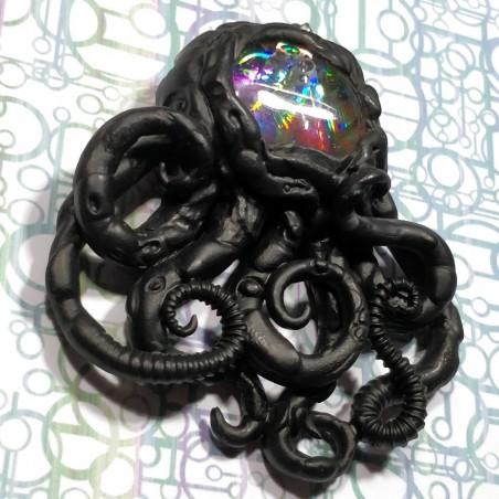 Pendentif pieuvre noir holographique biomecha biomécanique octopus poulpe