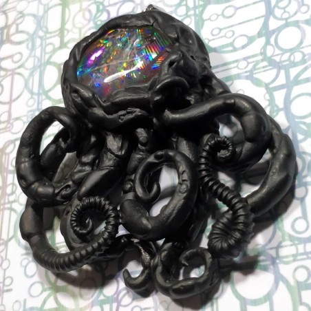 Pendentif pieuvre noir holographique biomech bioméca octopus poulpe
