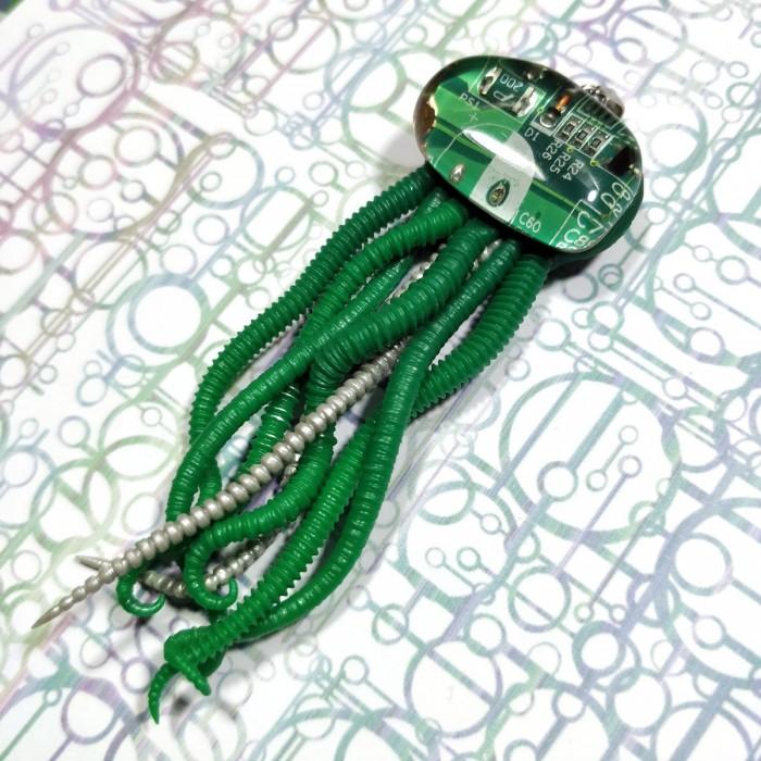 collier méduse  circuit imprimé vert biomech