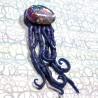 Pendentif méduse  bleu  psychédélique