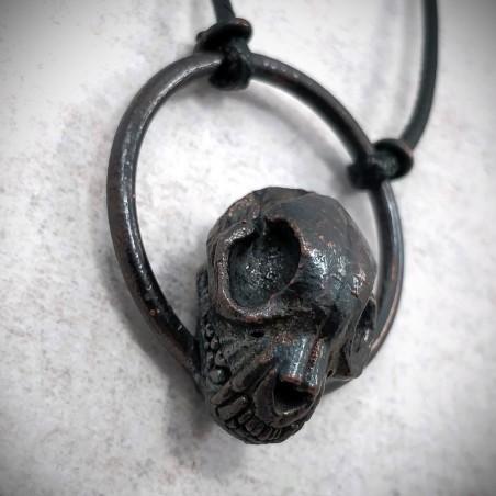 collier bijou crâne chat cuivre calciné noir skull morbide