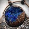 Bijou cuivre géode cristal biomech biomec biomecanique bleu alien