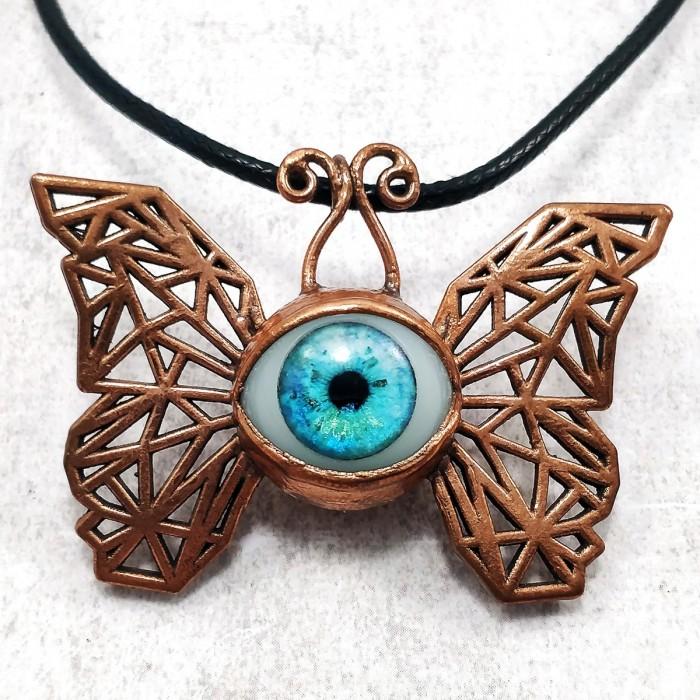 Pendentif cuivre oeil papillon collier ooak