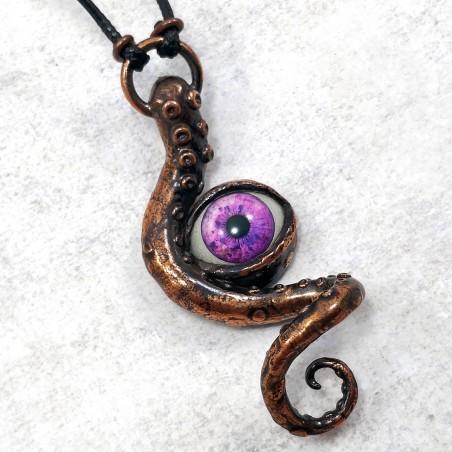 Bijou collier cuivre tentacule oeil poulpe pieuvre octopus