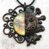 Pendentif lune cuivre croissante phase bijou collier holo holographique irisée