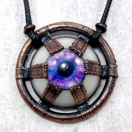 Collier oeil cuivre steampunk industriel indus pendentif bijou