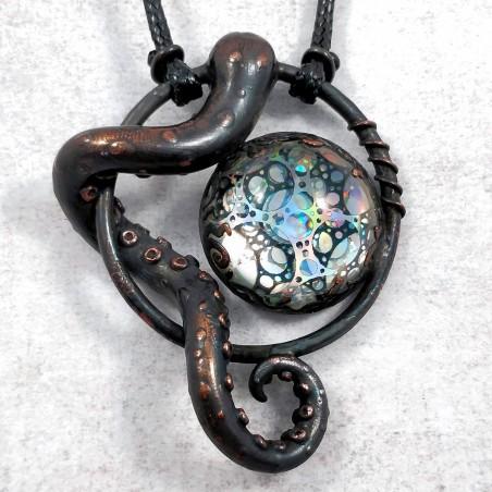 Bijou tentacule cuivre cabochon holographique holo collier pieuve octopus poulpe