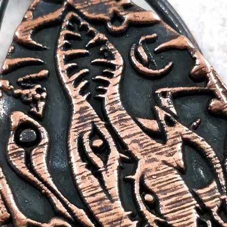 pendentif artefact cthulhu lovecraft cuivre glyphe gravure