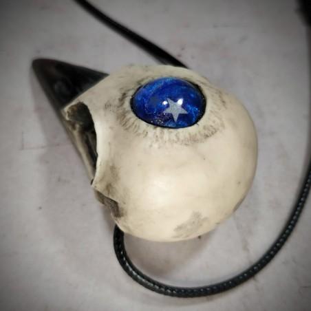 collier troisième oeil, crâne corbeau, galaxie