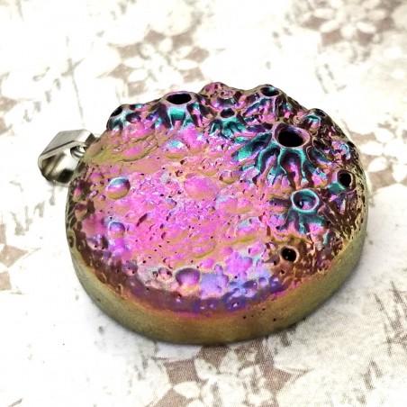 pendentif petite lune, magique multicolore shamanique divination