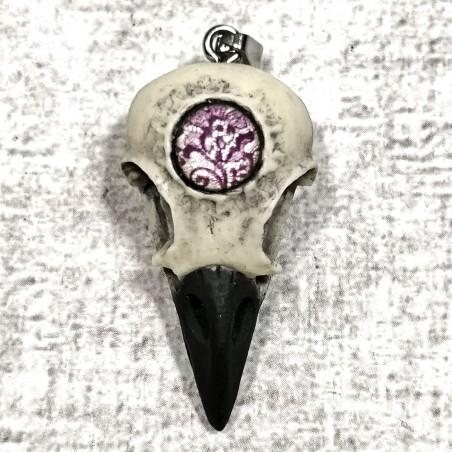 Crâne corbeau troisième oeil dentelle artisanal