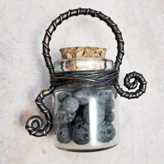 collier fiole, lava beads, diffuseur parfum