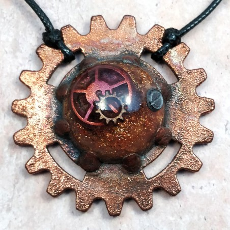 collier cuivre rouage ancien vintage