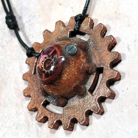 Médaillon cuivre rouage ancien vintage
