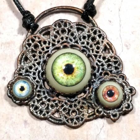 Panache dentelle  fleur cuivre électroforming yeux  résine