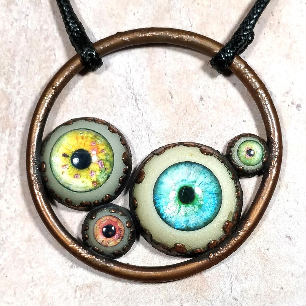 pendentif collier yeux oeil humain bleu vert