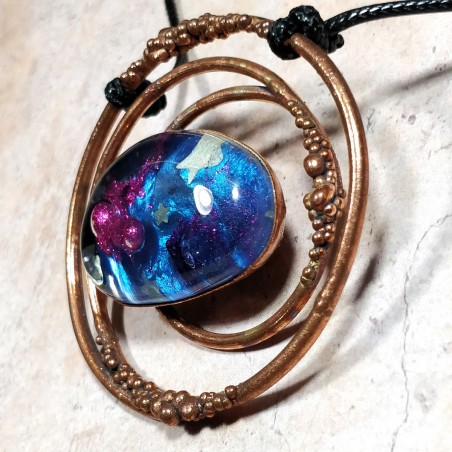 pendentif galaxy cuivre galaxie artisanal créateur