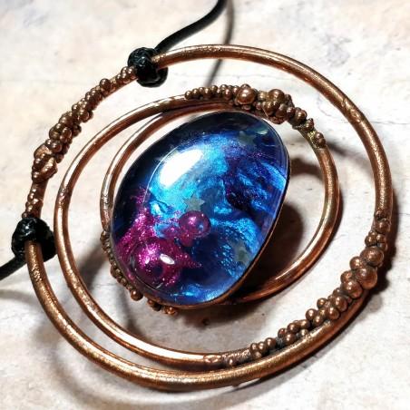 pendentif galaxy cuivre galaxie artisanal créateur créatrice